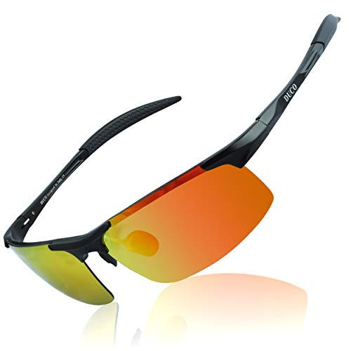 DUCO Herren Sportbrille Polarisierte Sonnenbrille Fahrerbrille 8177S (Schwarz)