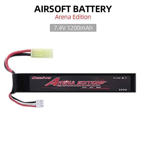 Leeofty 7.4V 1200mAh Lipo Airsoft Batería para Airsoft M4 Crane Stock M110 SR25 AK47 MP5K MP5 Scar M249 M240B M60 G36 M14 RPK PKM L85 AGO