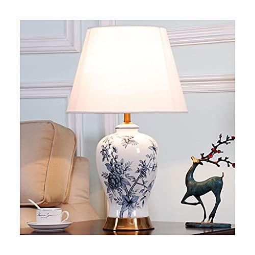 Lámparas de mesita de noche con sombra de tela beige, mesa de escritorio moderna de la cabecera Lámpara de porcelana azul y blanca Patrón de porcelana Retro Lámparas de mesa de cerámica Lámparas de me