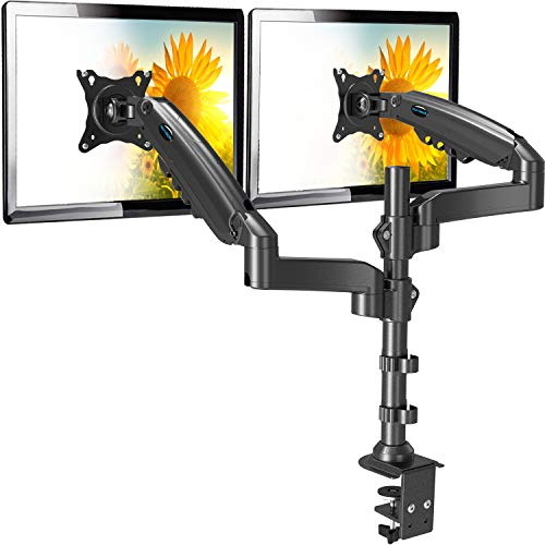 HUANUO PC モニター アーム 液晶ディスプレイ アーム クランプ式 ガススプリング式 ガス圧式 2画面 15-27...