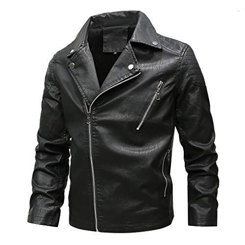Allywit L-6XL Men Leather Jacket Men - Stand Collar Bomber Jacket Faux Leather Moto Coat Outerwear Big and Tall Black