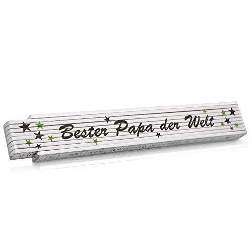 Metro plegable de mano regalo para el Día del Padre, con diseño texto en alemán 'Bester Papa der Welt', idea hombres, cumpleaños, bodas, Navidad y aniversario, escala 2 m, color verde