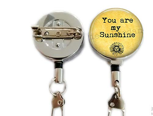 ou are My Sunshine Keychain - Gift for Loved One - I Love You - Happiness and Sunshine - Gift for Daughter - Gift for Friend,Retractable Badge Holder Carabiner Reel Clip On ID Card Holders
