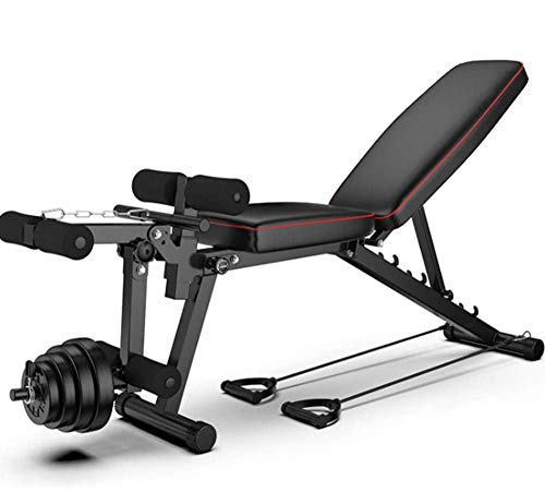 Multifunctional Foldable Weight Bench Sit-Ups Bed with Leg Extension Leg Curl for Fitness, Max Load 200 Kg / 441 Lbs, Black
