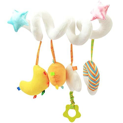 YsaAsaa Bebé cama cuna espiral juguetes de peluche, Baby Activity Hanging Toys, Carillones de viento de cabecera juguete, Dibujos animados fruta bebé carro juguete
