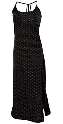 GURU SHOP Schmales Maxikleid, Sommerkleid, Damen, Schwarz/braun, Baumwolle, Size:S/M (36), Lange & Midi-Kleider Alternative Bekleidung
