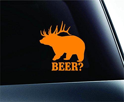 Beer + Deer = Bear Animal Drink Mythology Funny Symbol Decal Family Love Car Truck Sticker Window (Orange)