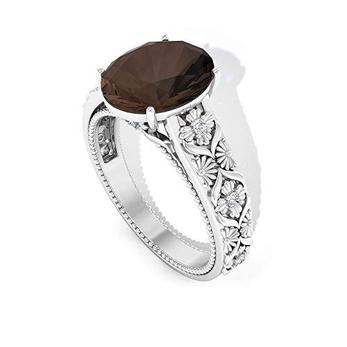 Anillo solitario de oro de cuarzo ahumado de 3,5 quilates, diamante certificado SGL IJ-SI, anillo de claridad de color, anillo de novia de filigrana, 14K Oro blanco, Size:EU 53