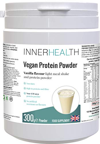 Premium UK 100% Plant Based Organic Vegan Protein Powder 300g (Vanilla). Raw Ingredients Packed with Health Benefits from Essential Amino Acids, Vitamins & Minerals - High Protein, Low Carb & Fat.