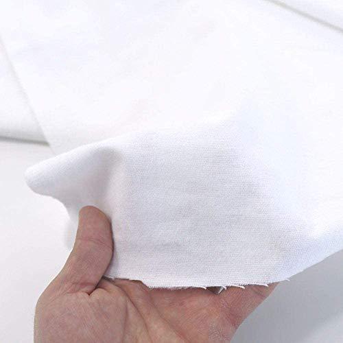 TOLKO Baumwollstoff | 42 kräftige ÖkoTex Farben Baumwoll-Nesselstoff Uni Kleiderstoff Dekostoff | Baumwolle Meterware 150cm breit | Vorhang-Stoff Bezugsstoff Webstoff 50cm (Weiß Molton 100% Bio)