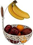 Fruit Basket + Banana holder, Elegant Fruit Bowl with Banana Tree Hanger (White Brushed Bronze)