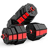 KT Mall Cast Iron All in One Dumbbell Set Changeable Weights Dumbbells with Anti-Rolling Octagonal Dumbbell Disc and Barbell Buckle Nut for Every Type Training,40kg(20kg2)