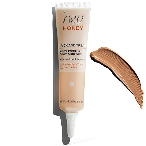 Hey Honey Trick and Treat Active Propolis Cream Concealer, Light to Medium Tone, 0.5 Fluid Ounce