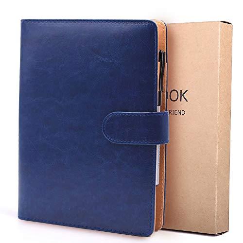 Bestoo - Cuaderno de piel A5 con hojas sueltas, rellenable, para negocios, conferencias, viajes, agenda, 100 páginas gruesas