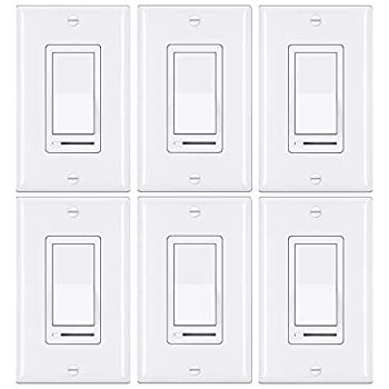 [6 Pack] BESTTEN Rocker Dimmer Switch for Dimmable LED Halogen and Incandescent Bulbs Single-Pole or 3-Way 120V UL Listed White