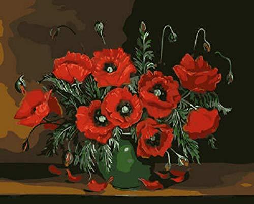 Pintura de bricolaje por número Flor roja de escritorio Conjunto completo de bricolaje de de pintura familiar de caja de herramientas (40 * 50 cm/sin marco)