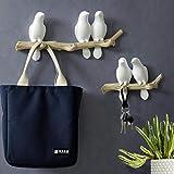SM SunniMix Perchero de Pared de Material Resina Ecológico Pájaro Colgador de Ropa - 3 pájaros
