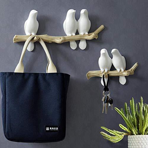 SM SunniMix Vögel auf Baum Design Garderobenhaken Kleiderhaken Wandhaken Mantelhaken, bis 4 Vögel - 3 Vögel