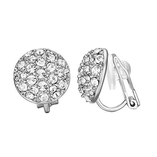 Yoursfs Aretes Chapado en Oro Blanco 18k con cristal Brillante Clip en pendientes para las mujeres
