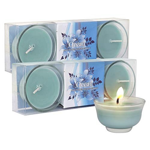 TIED RIBBONS Pack of 4 Scented Smokeless Wax Candles - Ocean Fragrance - Diwali Decoration Item for Home Office and Gift (Blue)