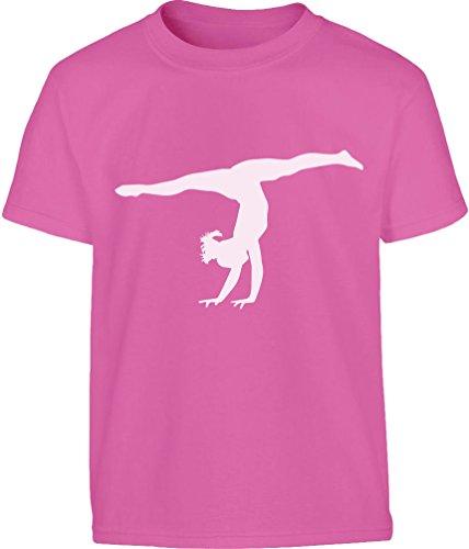 Shirtgeil Silouette di ginnasta Regalo per Fans. Maglietta per Bambini e Ragazzi 9-10 Anni Rosa Wow
