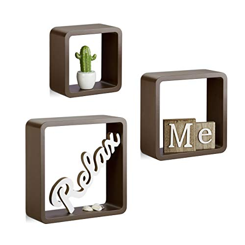 Relaxdays Hängeregal Cube 3er Set, Wandboard freischwebend, Wandregal Holz, quadratisch, schmal, MDF, Würfel, braun
