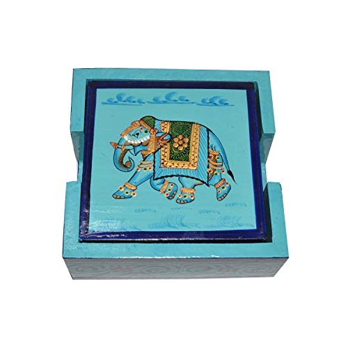 Tea Coffee Coaster Set of 6 Wooden Antique Handmade Creative Hand Painted Square Blue Coaster with Artistic Design Holder