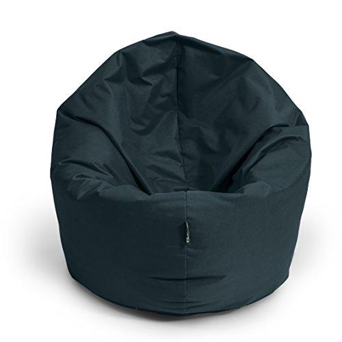 BuBiBag Sitzsack 2-in-1 Funktionen mit Füllung Sitzkissen Bodenkissen Kissen Sessel BeanBag (145cm Durchmesser, schwarz)
