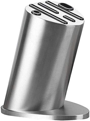 Bloque de cuchillos universal, portacuchillos de acero inoxidable: para almacenamiento seguro y que ahorra cuchillos, diseño único de 6 posiciones