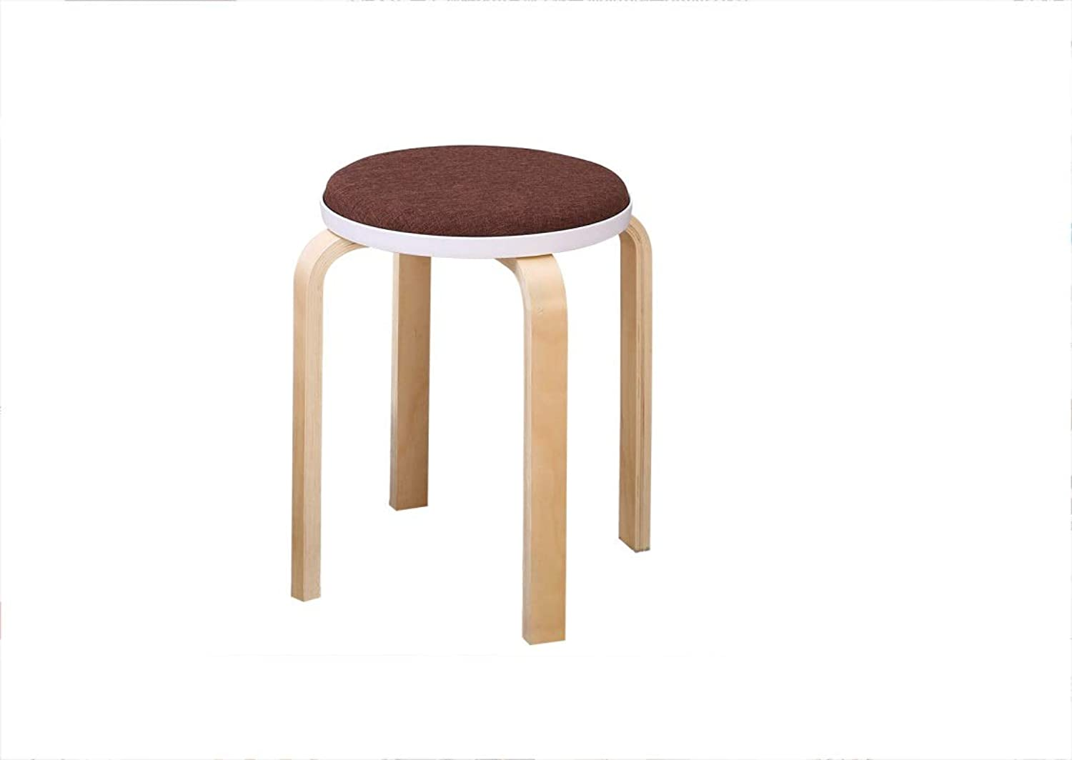 Stool Family Dining Chair Stool Solid Wood Stool for shoes Bench 38  47  32cm (color   Brown)