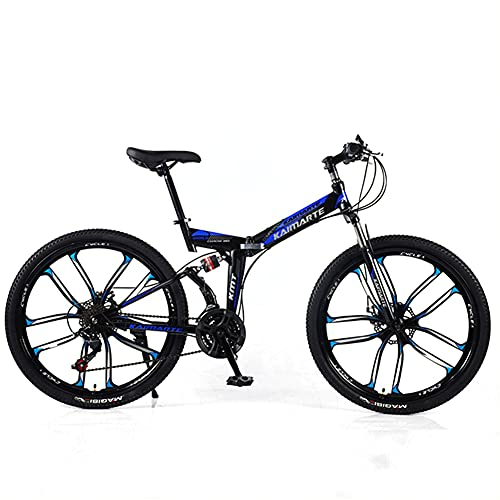 Liu Adult Mountain Bike, 24 Speeds Bicycle, Full Suspension MTB Mountain-Bicycles,Carbon Steel City Road Bikes,Outdoor Cycling Urban Bike, 10 Spoke Wheel