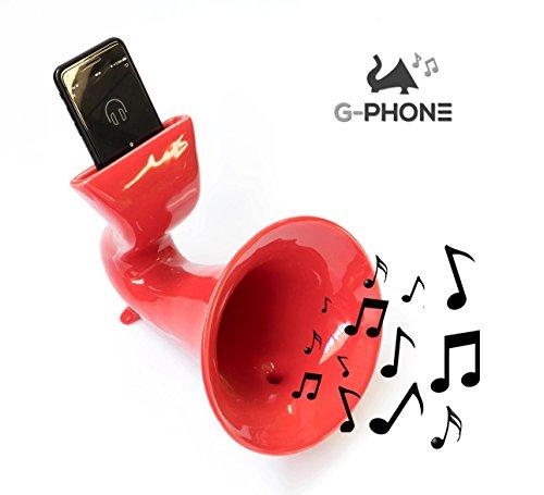 Amplificatore per cellulare in Ceramica G-PHONE – Made in Italy – Design che arreda – Funziona con tutti i tipi di iphone e smartphone – Idea Regalo Originale – Base Cassa Speaker Passivo (Rosso)