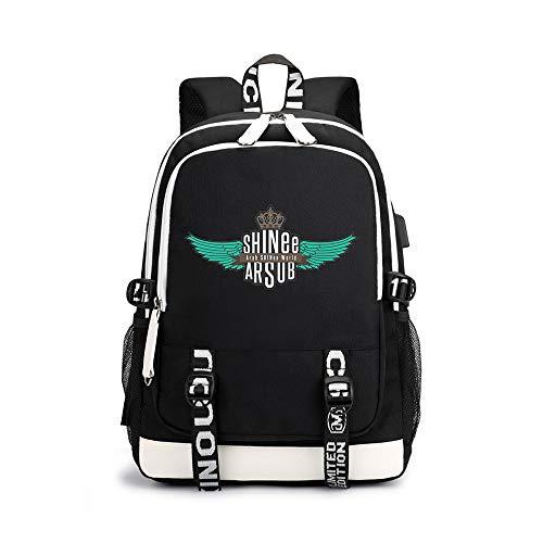 Shinee Rucksäcke Trendy Fashion Light Wandern Bag Lässige Sport Mode Rucksack Shinee Backpacks (Color : Black04, Size : 30 X 15 X 43cm)