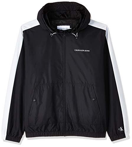 Calvin Klein Jeans Mens Statement Logo Windbreaker Rain Jacket, Ck Black/White, XL