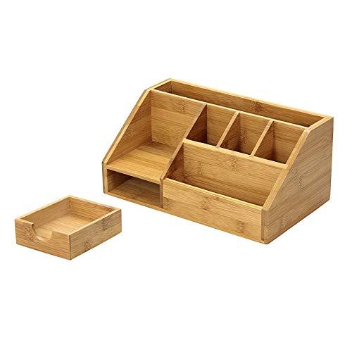 Caja de almacenamiento de madera multifuncional para escritorio con cajones, soporte para bolígrafos, caja de almacenamiento para oficina, hogar y escuela, 24,5 x 15 x 11 cm