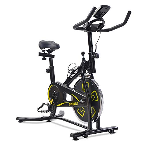 Merax Exercise Bike,Indoor Cycling Bike,adjustable handlebars & seat on board, LCD Monitor,reads speed, distance, time, calories + pulse,Yellow