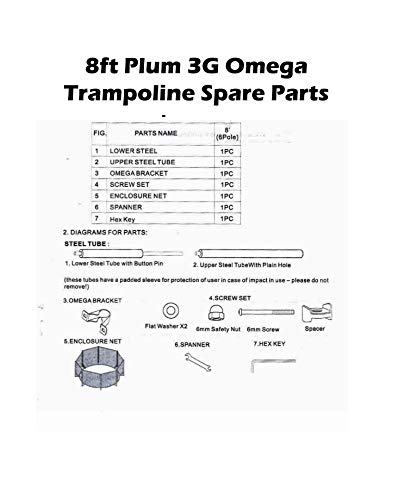 Bestdeals12 Spare Parts 8ft Plum 3G Omega Trampoline (Price Each Variation) (1x Lower Steel (P No.1))
