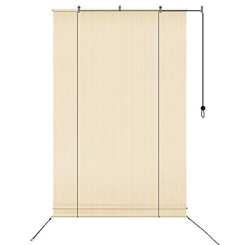 XJJUN Cortina Exterior Enrollable, 90% De Resistencia A Los Rayos UV, Filtro De Luz, Persianas Transpirables, para Pérgola, Gazebo, Terraza Jardín (Color : Beige, Size : 1x2m)