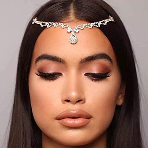 Rongxin Cadena para el cabello de estilo bohemio para novia, con diamantes de imitación, para mujer, boda, cristal ovalado, cadena de accesorios (color metálico: plata)
