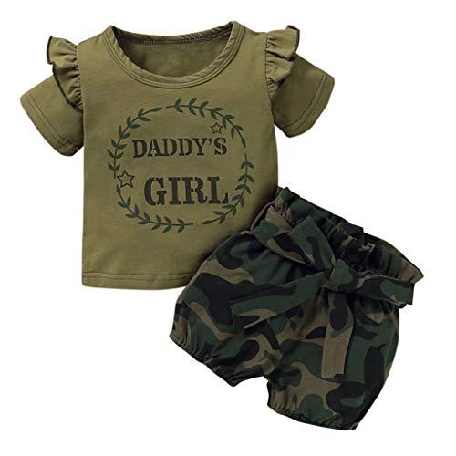 Neugeborenes Baby-Unisex Schlafsack Strampler Kinder Baby Mädchen Kleidung Strampler Bodysuit + Flower Print Shorts Set ODRD Mädchen Jungen Body Babyschlafsack (0-6 Monate, Camouflage 3)