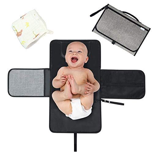 Cambiador de pañales portátil para bebé, cambiador de pañales impermeable con almohada...