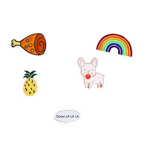 Relovsk Broche de Dibujos Animados Animales Pin de Esmalte Conjunto Conejo Malvado Pájaro Abeja Iconos de Comida rápida Estilo Insignias de botón para niños Mujeres Joyas