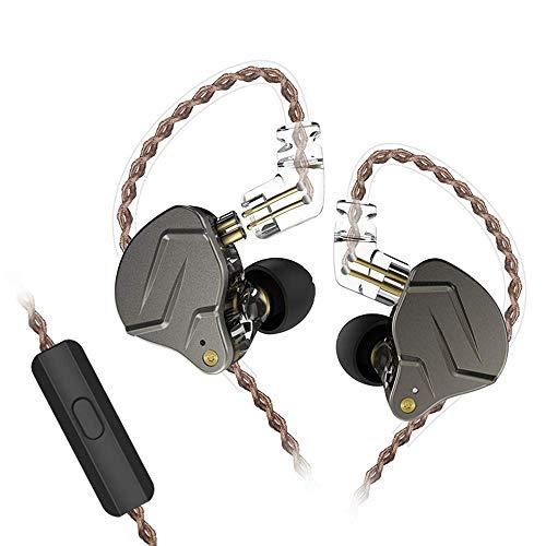 KZ ZSN Pro Auriculares de Metal Tecnología híbrida 1BA + 1DD HiFi Auriculares para Bajos En el oído Auriculares Monitor Auriculares con cancelación de Ruido (Negro con microfono)