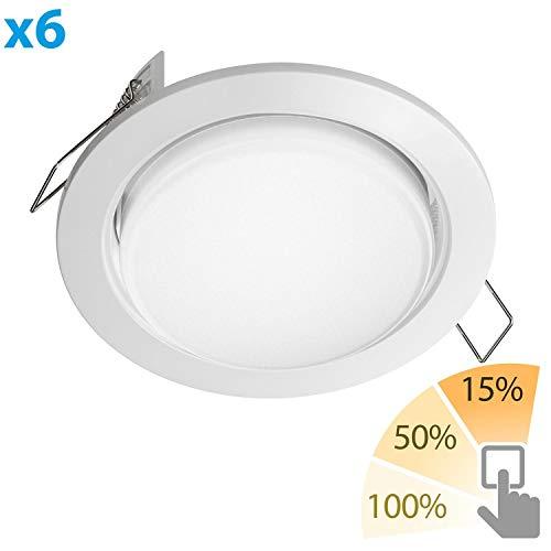 ledscom.de LED Einbauring Zobe Slim GX53 weiß rund 6W=38W 420lm warm-weiß 3-Stufen Stufendimmer 100% 50% 15% 107mm Ø Lochkreis 90mm Ø, 6 STK.