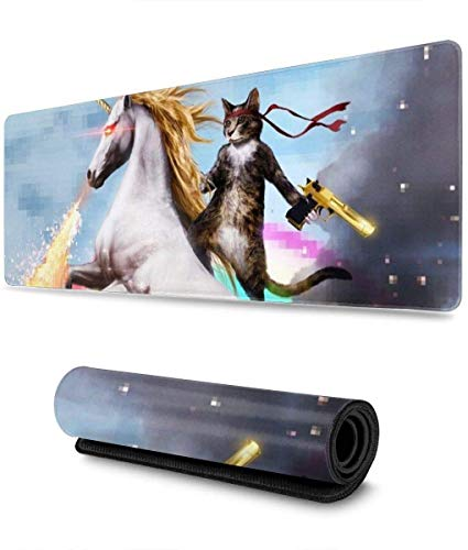 Cool Cat Gaming Mouse Pad XL,Extended Large Mouse Mat Desk Pad, Stitched Edges Mousepad,Long Non-Slip Rubber Base Mice Pad,31.5X11.8 Inch