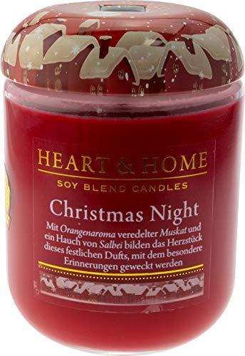 Heart & Home geurkaars Christmas Night, oosterse geur naar sinaasappelbalsem, framboos & anjer, sojawas kaars in glas, brandt tot 75 h, veganistisch, 340 g