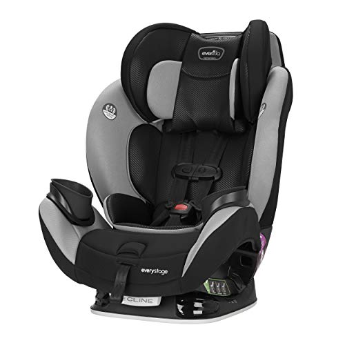 Evenflo EveryStage LX All-in-One Car Seat, Convertible Baby Seat, Convertible & Booster Seat, Grows with Child Up to 120 lbs, Angled for Comfort & Safety, 3-Times-Tighter Installation, Gamma Black