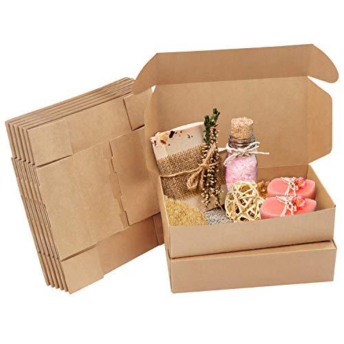 Kurtzy Karton Geschenkboxen Braun (20 STK) – Schachteln 19 x 11 x 4,5cm Pappschachteln mit Deckel – Kraftpapier Geschenk Box zum Selber Aufbauen für Geschenke, Hochzeit, Party, Weihnachten