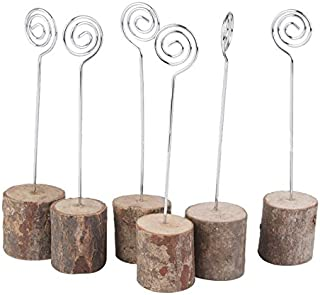 Rustic Table Numbers Holders Wood Stands for Wedding Anniversary Birthday Graduation Party Decoration (10Wood Stand+Place Card Holder)