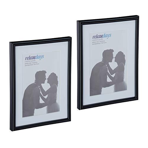 Relaxdays Bilderrahmen 2er Set, 15x20cm, Passepartout 10x15cm, Glasscheibe, Fotorahmen zum Stellen & Hinhängen, schwarz